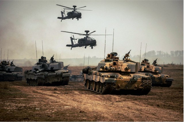 Britain defence - Challenger 2 tanks and Westland Helicopters