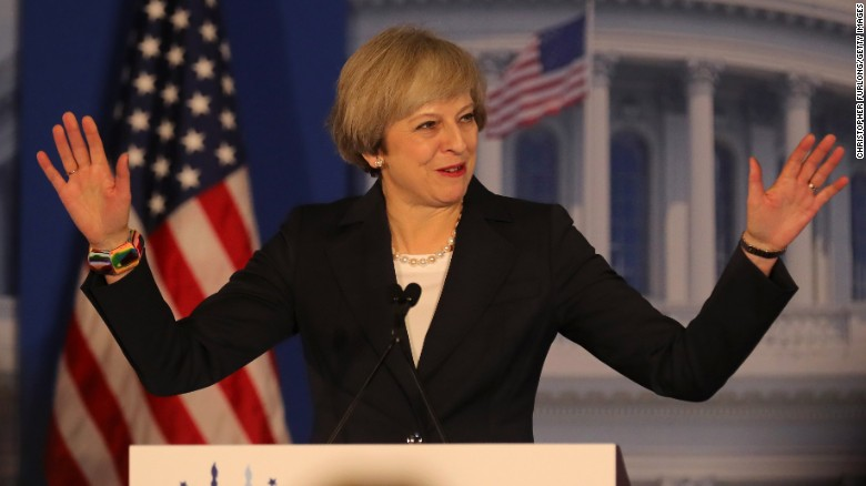 Britain - Prime Minister Theresa May addresses the U.S. Republican Party Convention in Philadelphia, U.S.A. on January 26, 2017. Image courtesy of CNN/YouTube.