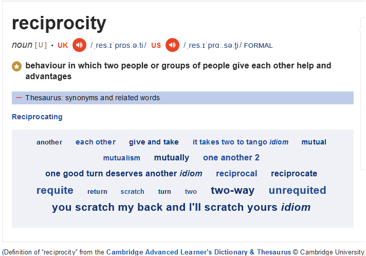 UK and EU -- RECIPROCITY definition by Cambridge University Press