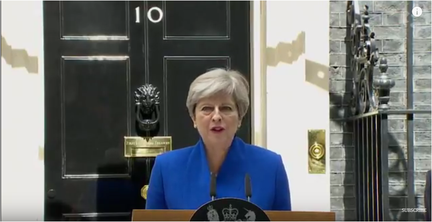 UK, PM Theresa May to lead Britain's new government. Speech from 10 Downing St. June 9, 2017