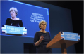 PM Theresa May addresses the Conservative Party convention in Manchester on October 4, outlining their achievements over the past 16-months.
