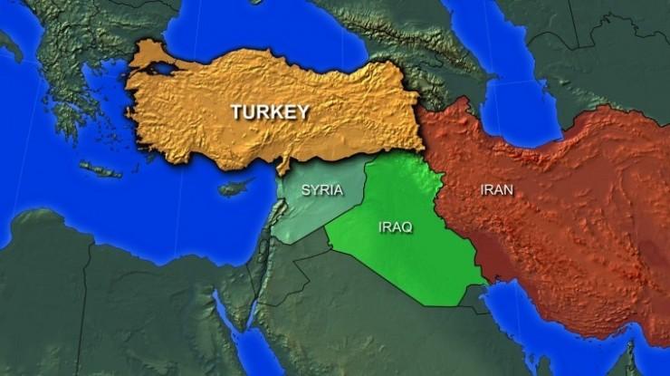 Iran, Iraq, Syria, Turkey map.