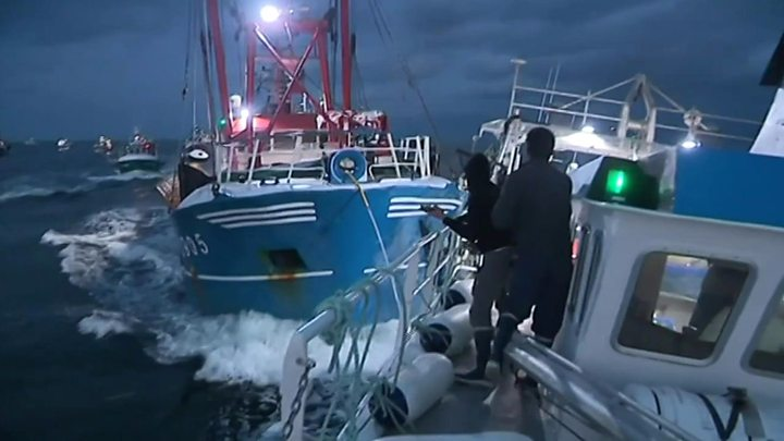 Fishing boats from France and the UK clash in international waters