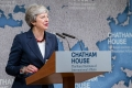 Theresa May gives her final speech as Prime Minister of the United Kingdom at Chatham House, London, July 17, 2019.