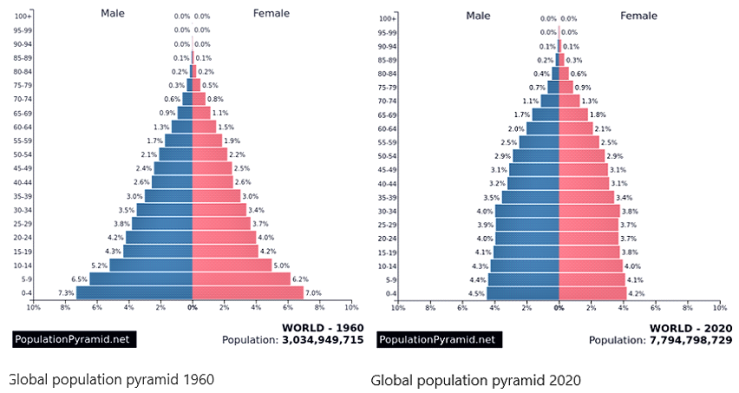 Global population pyramid 1960-2020 comparisons