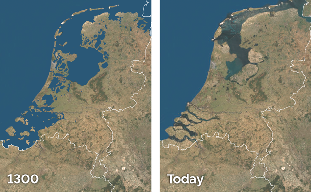 Netherlands Reclamation Map. Image courtesy of EARTH Magazine