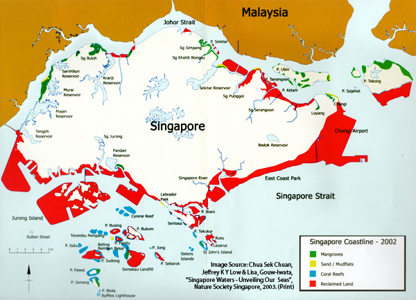 Singpore land reclaimed from the sea