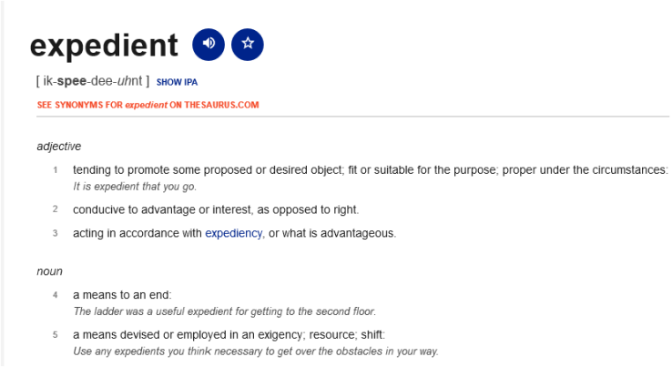 UK Brexit expedient-definition